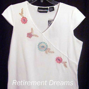 Requirements M Flower Beaded Shirt NEW NWT Flaw